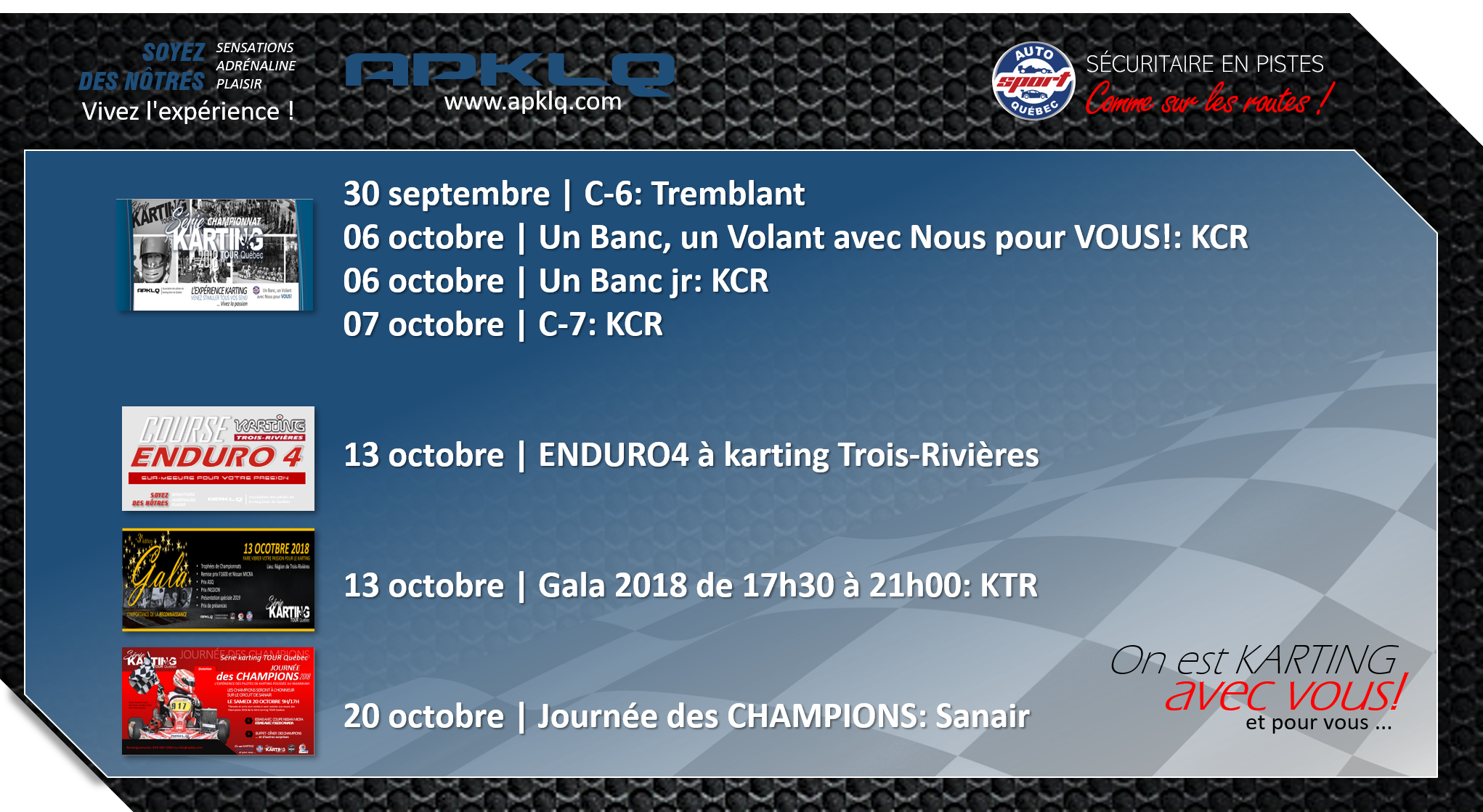 Nos dates karting en octobre