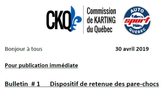 Bulltin No.1 CKQ-ASQ pour le Championnat du Québec